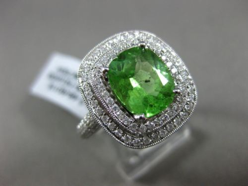 LARGE 2.72CT DIAMOND & AAA TSAVORITE 18KT WHITE GOLD DOUBLE HALO ENGAGEMENT RING