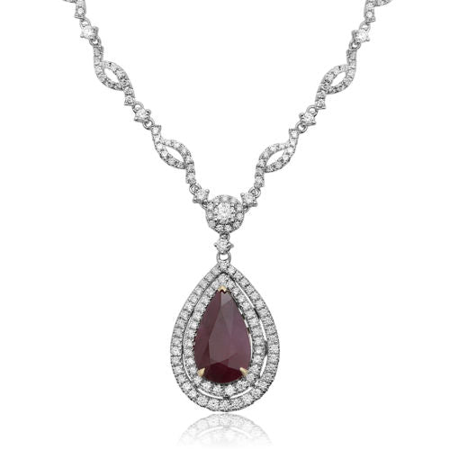 GIA LARGE 9.01CT DIAMOND & AAA RUBY 18KT 2 TONE GOLD PEAR SHAPE TENNIS NECKLACE