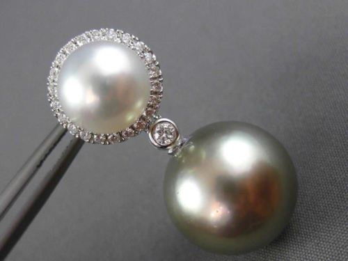 EXTRA LARGE .45CT DIAMOND & SOUTH SEA TAHITIAN PEARL 18KT WHITE GOLD 3D EARRINGS
