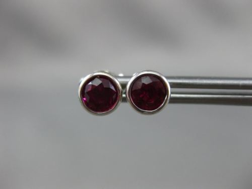 ANTIQUE 1.20CT AAA ROUND RUBY 18K WHITE GOLD BEZEL STUD EARRINGS EXCEPTIONAL 886