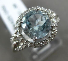 ESTATE WIDE 2.02CT DIAMOND & AAA AQUAMARINE 14KT WHITE GOLD HALO ENGAGEMENT RING