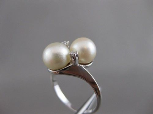 ESTATE WIDE DIAMOND 7MM SOUTH SEA PEARL 14K WHITE GOLD ROUND COCKTAIL RING 20658