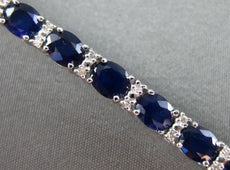 ESTATE 12.83CT DIAMOND & AAA SAPPHIRE 18KT WHITE GOLD 3D OVAL TENNIS BRACELET
