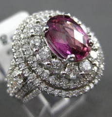 ESTATE LARGE 5.44CT DIAMOND & AAA TOURMALINE 18KT WHITE GOLD HALO COCKTAIL RING