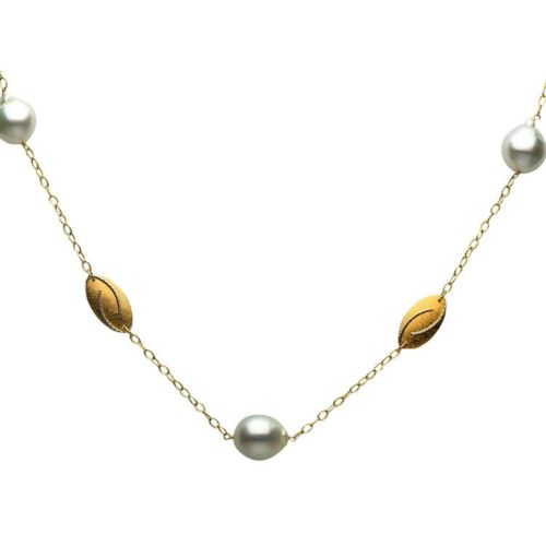 ESTATE LARGE AAA SOUTH SEA PEARL 14K YELLOW GOLD 3D BY THE YARD TIN CUP NECKLACE