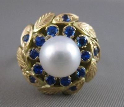 ESTATE .50CTW SAPPHIRE 7MM PEARL 14K Y GOLD FILIGREE WREATH COCKTAIL RING #20795