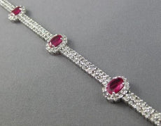 ESTATE WIDE 9.55CT DIAMOND & AAA RUBY 18K WHITE GOLD DOUBLE HALO TENNIS BRACELET