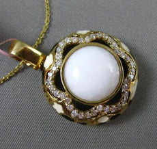 ESTATE LARGE .55CT DIAMOND & WHITE AGATE 14KT YELLOW GOLD FLOWER ENAMEL PENDANT
