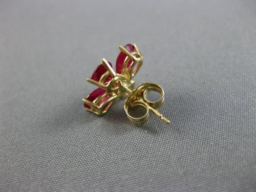 ANTIQUE 2.86CT DIAMOND & AAA RUBY 14KT YELLOW GOLD FLOWER STUD EARRINGS #25573