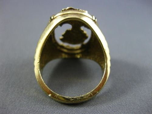 ANTIQUE LARGE .12CT OLD MINE DIAMOND 14KT YELLOW GOLD 3D OVAL LADY PORTRAIT RING