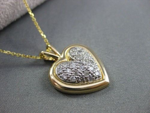 ANTIQUE .48CT DIAMOND PAVE SET 14K WHITE & YELLOW GOLD HEART STUNNING!!! #1744