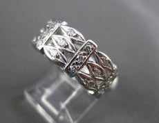 ANTIQUE WIDE .90CT DIAMOND 14KT WHITE GOLD FILIGREE WEDDING ETERNITY RING #17294