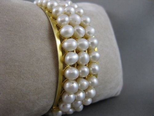 "WIDE ANTIQUE 18K YELLOW GOLD 3 ROW NATURAL PEARL BANGLE BRACELET 23MM 7.5"" #1109"