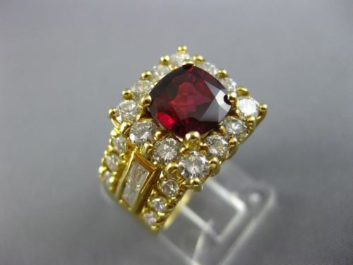 LARGE 4.1CT ROUND & BAGUETTE DIAMOND & RUBY 18K YELLOW GOLD HALO ENGAGEMENT RING