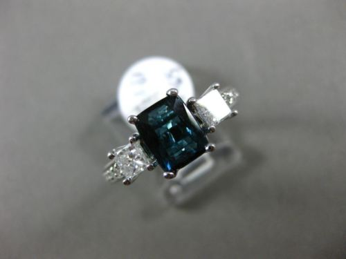 2.24CT DIAMOND & INDICOLITE BLUE TOURMALINE 14KT WHITE GOLD 3D ENGAGEMENT RING