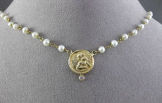 ANTIQUE .05CT DIAMOND 14KT YELLOW GOLD AAA SOUTH SEA PEARL ROSARY NECKLACE 19250