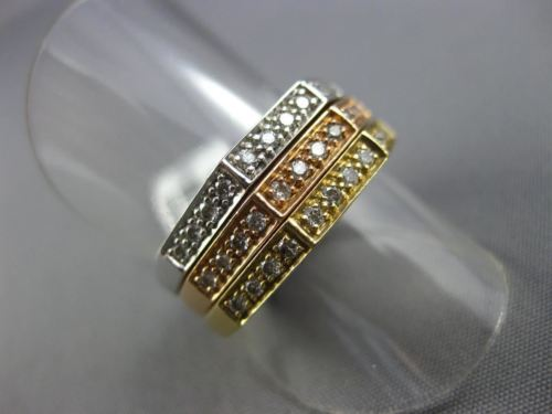 ESTATE WIDE .45CT DIAMOND 14KT WHITE YELLOW ROSE GOLD 3D HEXAGON STACKABLE RING