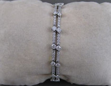 ANTIQUE 3.90CTW DIAMOND 14KT WHITE GOLD 2 ROW TENNIS BRACELET F/G VVS/VS #19046
