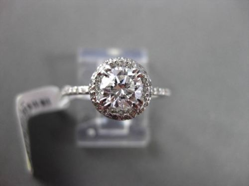 ESTATE 1.17CT ROUND DIAMOND 14KT WHITE GOLD HALO 3D SOLITAIRE ENGAGEMENT RING
