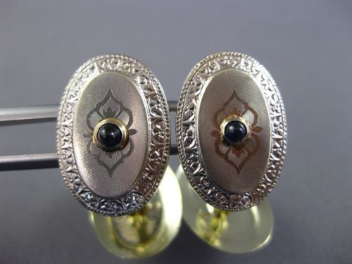 ANTIQUE .15CT OLD MINE DIAMOND & SAPPHIRE PLATIMUM & 14KT WHITE GOLD CUFF LINKS