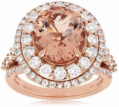 LARGE 6.0CT DIAMOND & AAA MORGANITE 14KT WHITE GOLD 3D FLOWER COCKTAIL OVAL RING