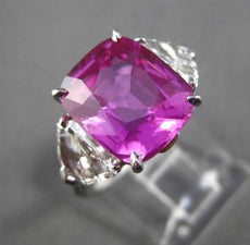 ANTIQUE PLATINUM 7.33CT DIAMOND & AAA PINK SAPPHIRE 3 STONE ENGAGEMENT RING G VS