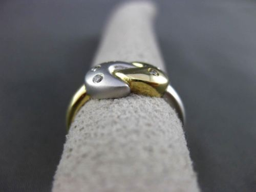 ESTATE .07CT DIAMOND 14KT WHITE & YELLOW GOLD 3D ETOILE LOVE NOT MOON RING 24511