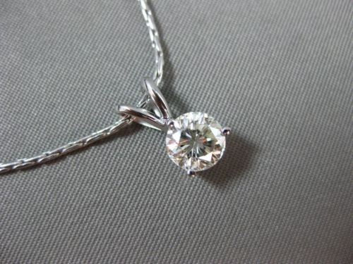 ESTATE 1.0CT DIAMOND 14KT WHITE GOLD 3 PRONG CLASSIC SOLITAIRE FLOATING PENDANT
