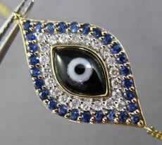 ESTATE .59CT DIAMOND & AAA SAPPHIRE 14KT YELLOW GOLD 3D LUCKY EVIL EYE BRACELET
