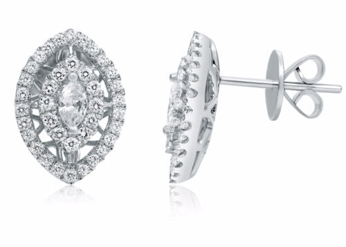 LARGE .87CT ROUND & MARQUISE DIAMOND 14K WHITE GOLD TEAR DROP HALO STUD EARRINGS