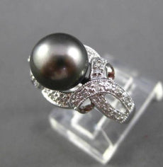 ESTATE .20CT DIAMOND & AAA PEARL 14KT WHITE GOLD 3D FILIGREE MILGRAIN RING #2998