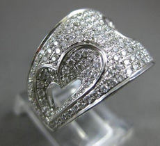 ESTATE LARGE 1.63CT ROUND DIAMOND 18KT WHITE GOLD 3D DOUBLE HEART LOVE RING
