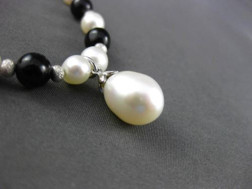 ESTATE 925 SILVER AAA PEARL & AAA BLACK ONYX LARIAT 3D DROP NECKLACE #24325