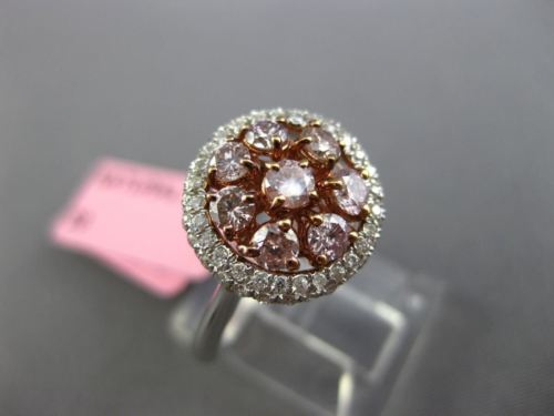 WIDE .97CT WHITE & PINK DIAMOND 18KT WHITE & ROSE GOLD CLUSTER HALO FLOWER RING