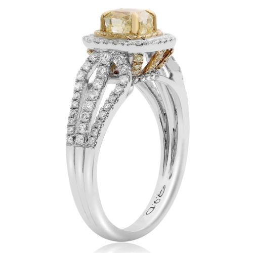 GIA 1.64CT WHITE & FANCY YELLOW DIAMOND 18KT 2 TONE GOLD 3D HALO ENGAGEMENT RING