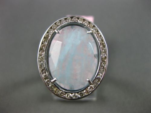 ANTIQUE 2.04CT DIAMOND & SLICED AQUAMARINE 14KT WHITE GOLD 3D FILIGREE FUN RING