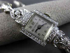 ANTIQUE LARGE .60CT OLD MINE DIAMOND PLATINUM SQUARE LONGINES LADIES WATCH 20386