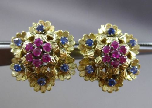ANTIQUE .75CT AAA SAPPHIRE & RUBY 18K TWO TONE GOLD FLOWER CLIP ON EARRINGS 2956