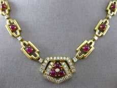 ESTATE LARGE 6.50CT DIAMOND & RUBY 18K YELLOW GOLD MULTI SHAPE PENTAGON NECKLACE