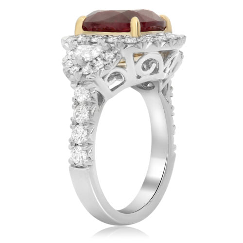 GIA 7.56CT DIAMOND & AAA RUBY 18K YELLOW GOLD PLATINUM SEMI MOON ENGAGEMENT RING