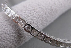 ANTIQUE 3.61CT DIAMOND 18K WHITE GOLD PRINCESS ROUND LINE TENNIS BRACELET #16229