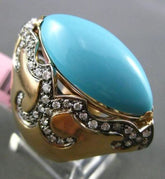 ANTIQUE LARGE 1.25CT DIAMOND & TURQUOISE 14KT YELLOW GOLD FILIGREE COCKTAIL RING