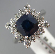 ESTATE WIDE 3CT DIAMOND & SAPPHIRE 18KT WHITE GOLD CUSHION HALO ENGAGEMENT RING