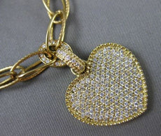 ESTATE LARGE 1.02CT DIAMOND 14KT YELLOW GOLD MILGRAIN HANDCRAFTED HEART NECKLACE
