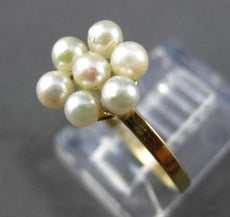 ANTIQUE AAA SOUTH SEA PEARL 14KT YELLOW GOLD 3D HANDCRAFTED CLUSTER FLOWER RING