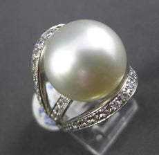 ESTATE MASSIVE .74CT DIAMOND & AAA SOUTH SEA PEARL PLATINUM 3D TENTION RING