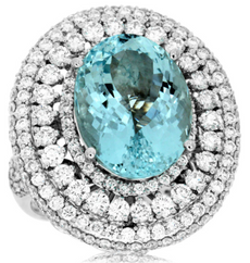 LARGE 12.60CT DIAMOND & AAA AQUAMARINE 14K WHITE GOLD 3D COCKTAIL MULTI ROW RING
