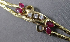 ANTIQUE WIDE .70CT DIAMOND & AAA RUBY 14KT YELLOW GOLD FLORAL BRACELET #18923
