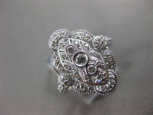 ESTATE WIDE .52CT DIAMOND 14KT WHITE GOLD 3D FILIGREE ETOILE MILGRAIN RING F/G