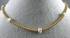 ESTATE 14KT YELLOW GOLD 3D PEARL BY THE YARD BEAD CHOKKER NECKLACE #25983